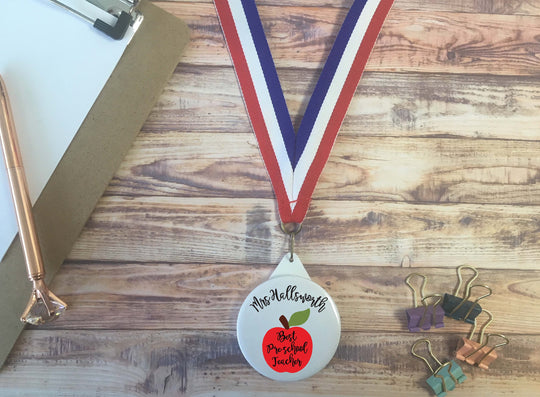 Best Pre-school Teacher /  Personalised Medal Prize Award Lanyard Badge Keyring End of Term Appreciation Token Gift Present apple / DD1268