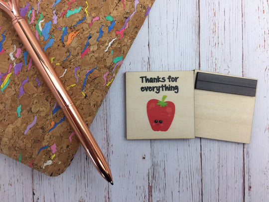 Teacher Gift Wooden Magnet / Thanks For Everything apple / Personalised Message / Teacher Appreciation End of Term Gift Present /  DD1279