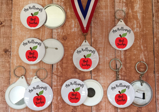 Best Teacher / TA Teaching  Personalised Medal Badge Keyring Mirror Magnet End of Term Appreciation Token Gift Present apple / DD1271
