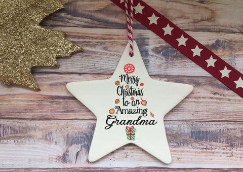 Ceramic Hanging Star / Merry Christmas to an Amazing Grandma DD1318
