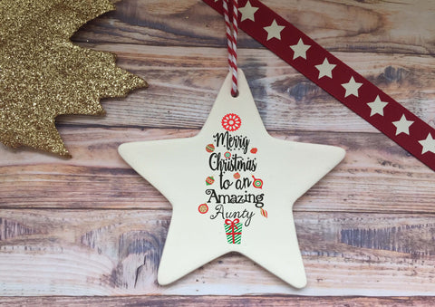 Ceramic Hanging Star / Merry Christmas to an amazing Aunty DD1309
