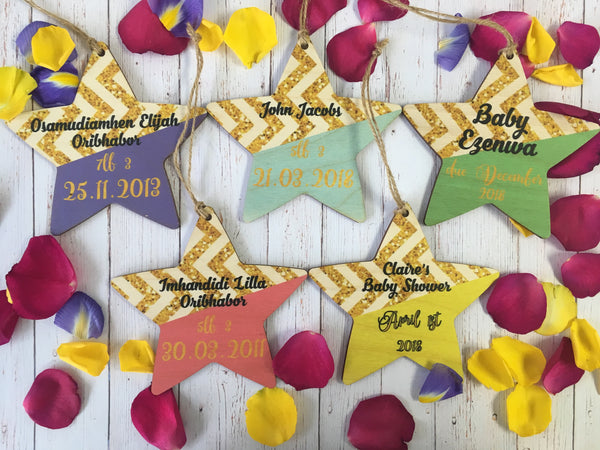 Hanging Star - Bright & Gold Geometric Baby Announcment DD411