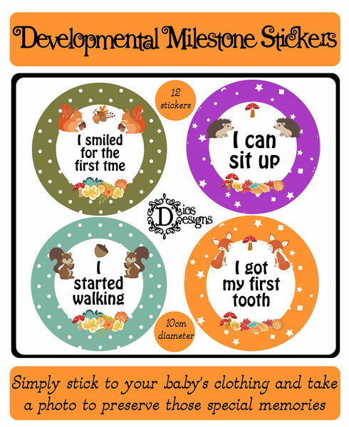 Developmental Milestone Stickers Forest Animals