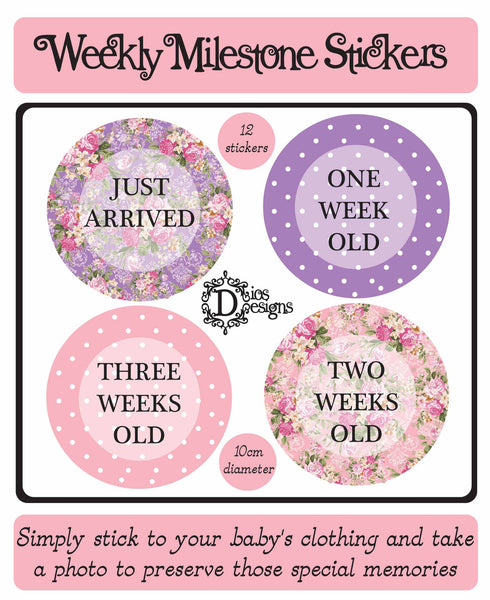 Weekly Milestone Stickers Bright Floral