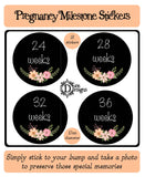 Pregnancy Journey Stickers - Chalkboard Floral - DD556