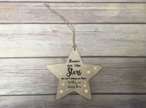 Wooden Hanging Star - Nannies Are Like Stars DD339
