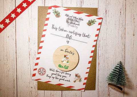 Wooden Token -  Santa's Naughty or Nice List DD2129