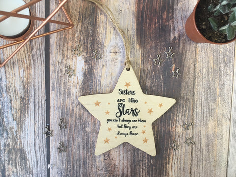 Wooden Hanging Star - Sisters Are Like Stars DD342