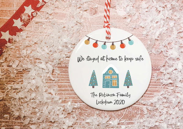 Ceramic Circle Decoration -Lockdown 2020 Teal House The Year we stayed at home to stay safe DD2134