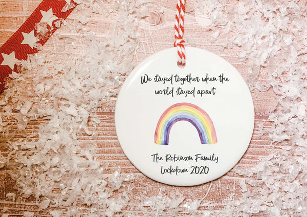 Ceramic Circle Decoration - Lockdown 2020 Watercolour Rainbow We stayed together when the world stayed apart DD2218