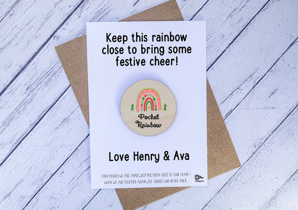 Wooden Token -  Xmas Pocket Rainbow DD2122