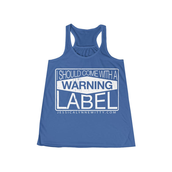 Jessica Lynne Witty Warning Label Women's Flowy Racerback Tank