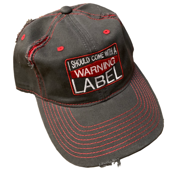 Jessica Lynne Witty Warning Label Distressed Hat