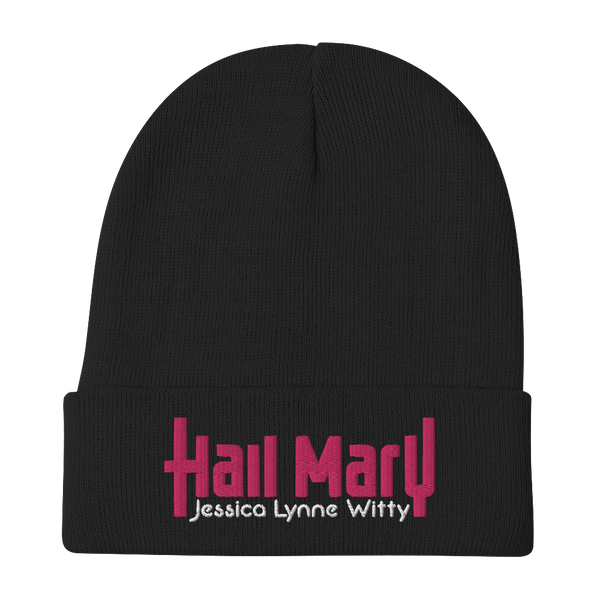 Jessica Lynne Witty Hail Mary Embroidered Beanie