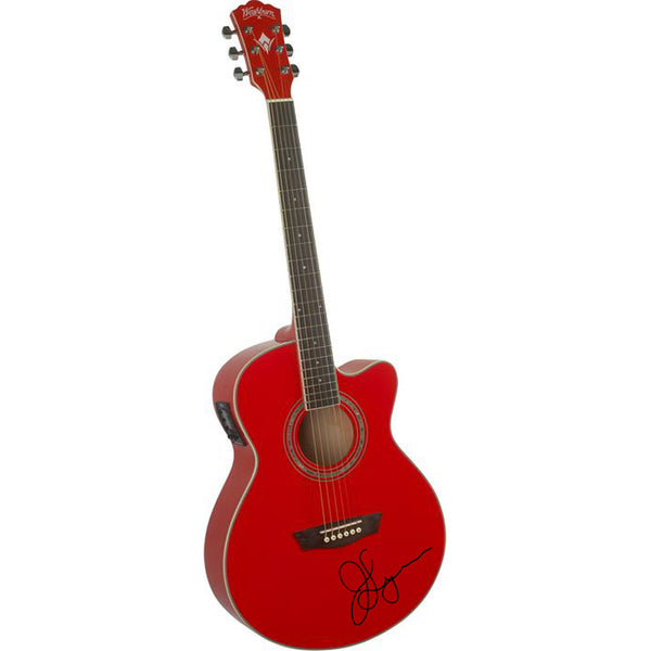 Signed Red Acoustic Guitar