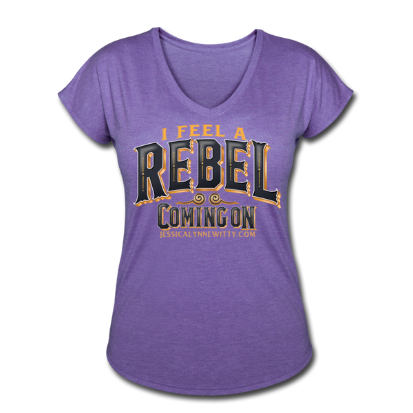 Jessica Lynne Witty I Feel A Rebel Coming On Women's Tri-Blend V-Neck T-Shirt - purple heather