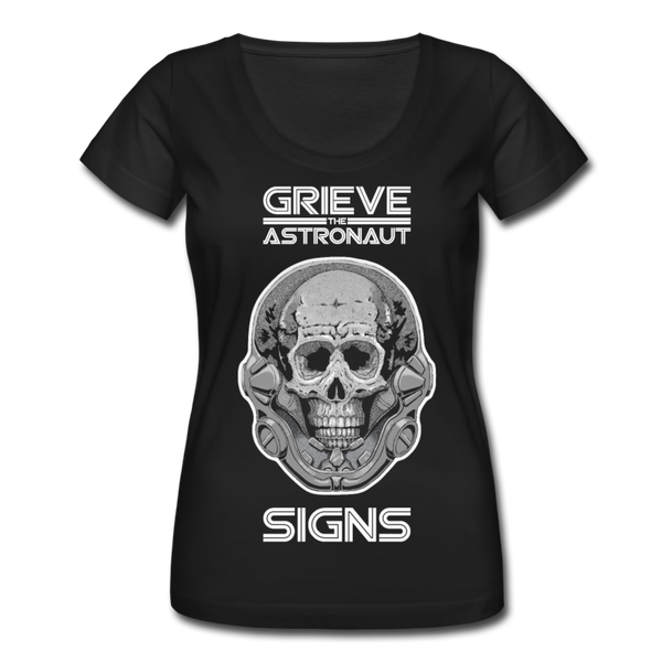 Grieve The Astronaut SIGNS Ladies' Scoopneck T-Shirt - black
