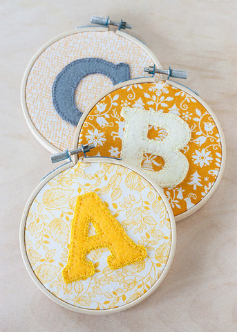 DIY alphabet hoop art