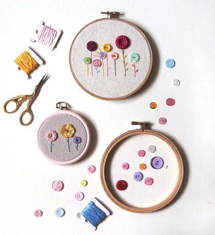 Button Flowers Hoop Art