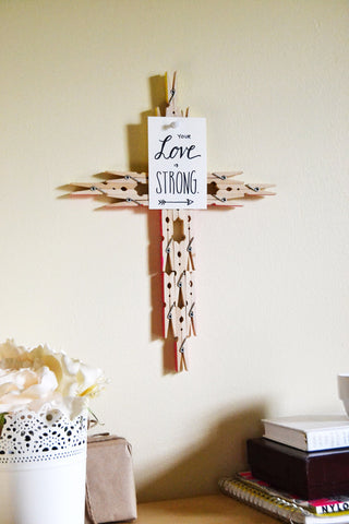 clothespin cross, diy Easter crafts