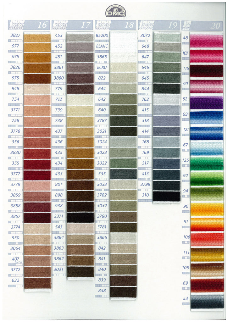 color chart DMC embroidery floss