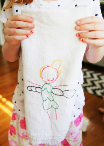 Embroidered hand towel from child's drawing