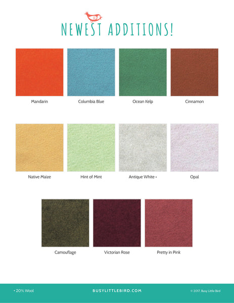 Wool Blend Felt Sampler, 6-inch Squares - Choose 20