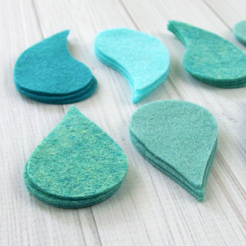 Felt Die Cuts - Paisley or Teardrop Shapes, 24 pieces