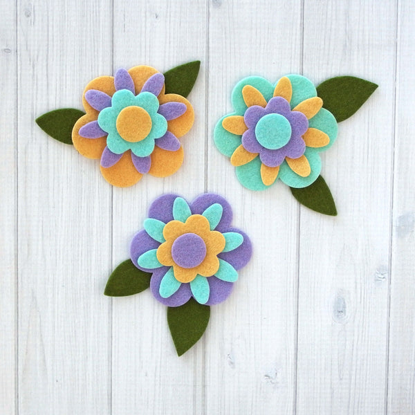 Felt Die Cuts, Daisy Flower Layers, 18 pieces - Busy Little Bird