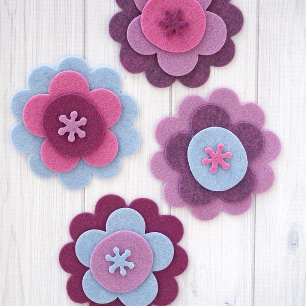 Flower Layers #2, Felt Die Cuts, 16 pieces - Busy Little Bird