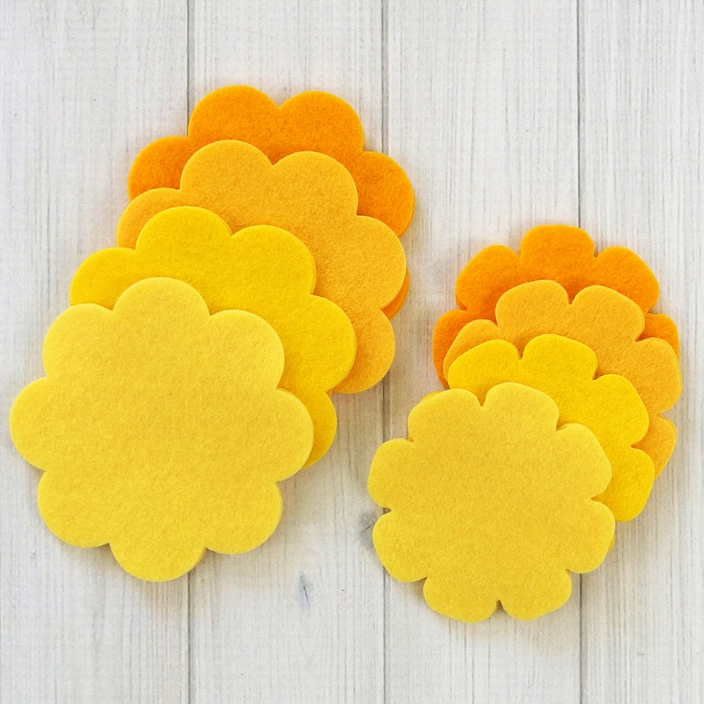 Flower Layers, Scalloped - Felt Die Cuts, 16 pieces