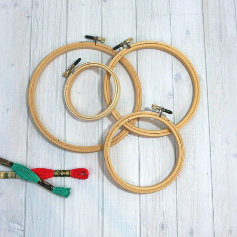 Wood Embroidery Hoops, Rounded Edges, 4 sizes - Busy Little Bird
