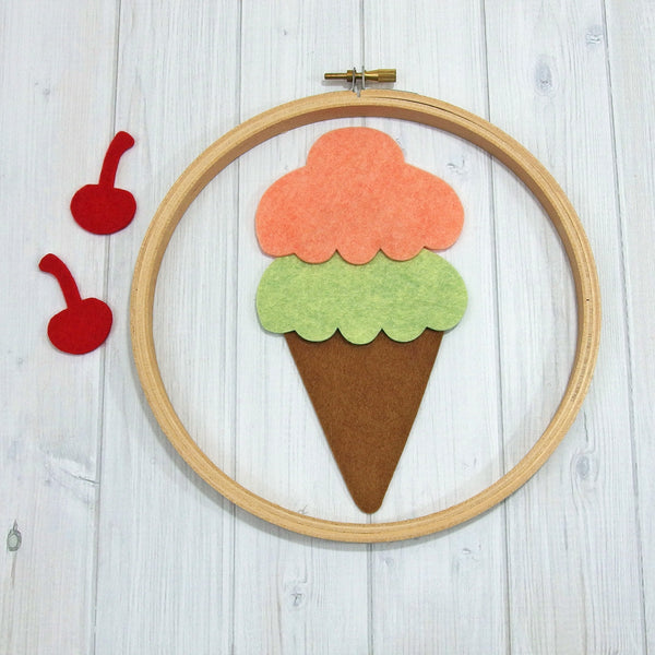 Felt Die Cuts, Large Ice Cream Cone, 12 pieces - Busy Little Bird