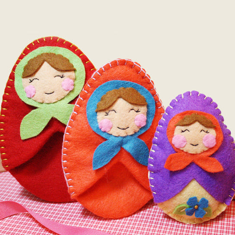 Felt Sewing Kit, Matryoshka Nesting Dolls, DIY Kit