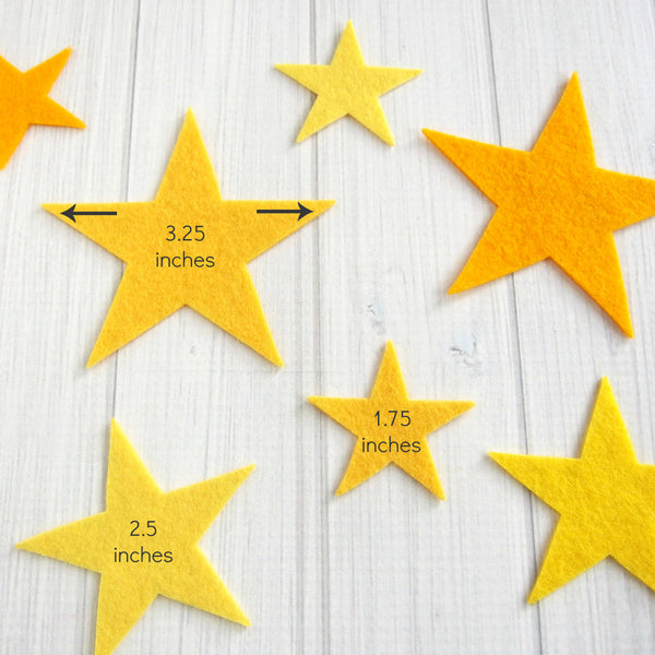 Felt Die Cuts, Stars, Multi-Size, 12 pieces - Busy Little Bird