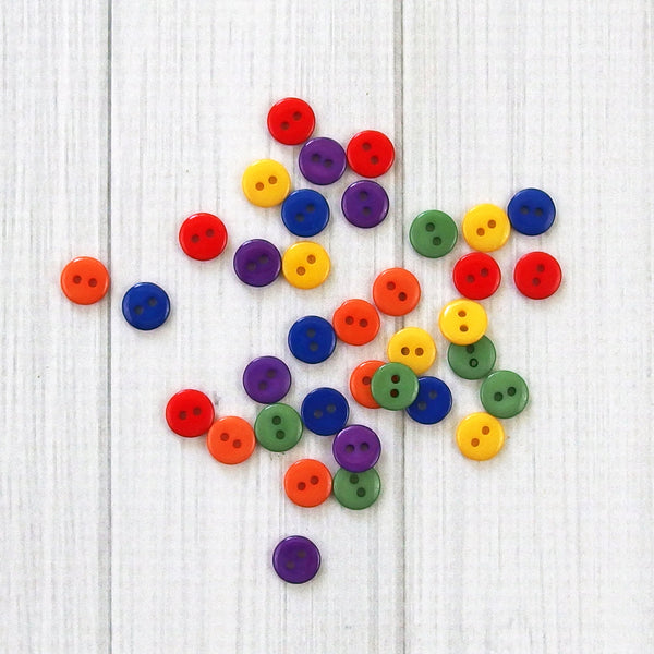 Tiny Round Buttons - Primary - 36 pieces