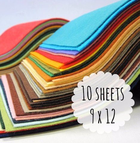 Felt Sheets, 9 x 12 inches, Wool Blend, Choose 10 - Busy Little Bird