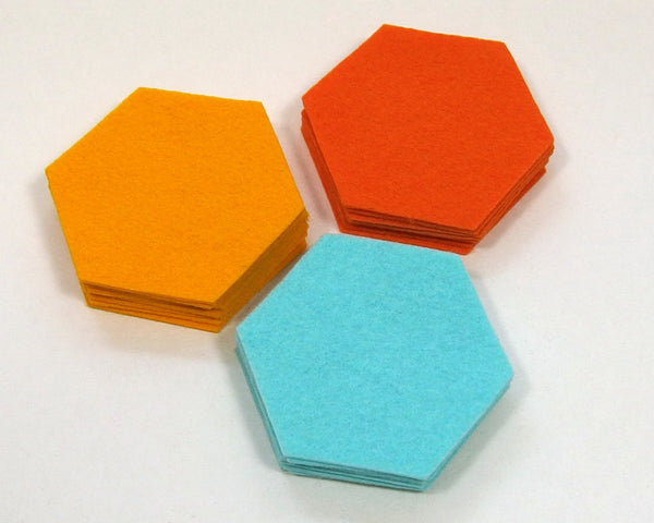 Felt Die Cuts, Hexagons, 1.25-inch sides, 12 pieces - Busy Little Bird