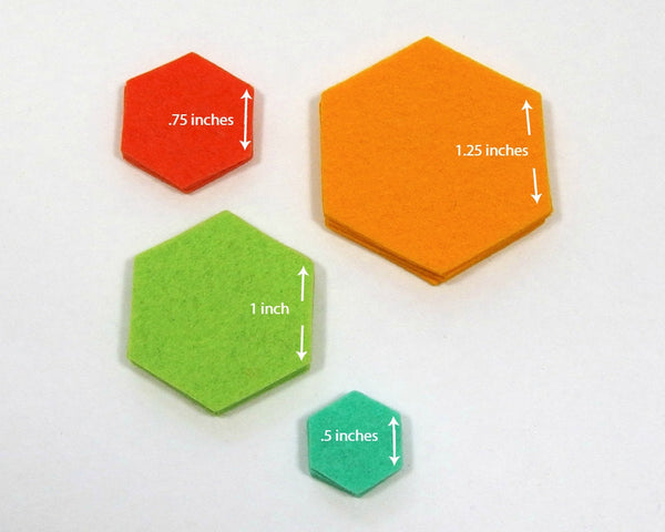 Felt Die Cuts, Hexagons, 3/4-inch sides, 20 pieces - Busy Little Bird