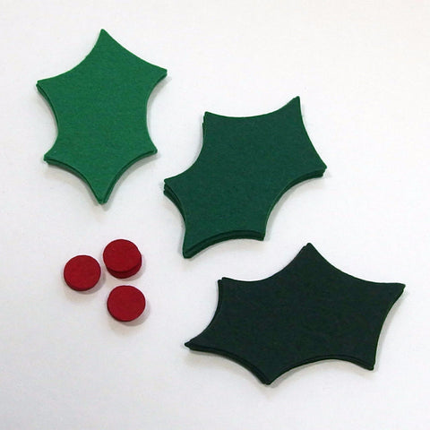 Felt Die Cuts, Holly Leaves, 18 pieces - Busy Little Bird