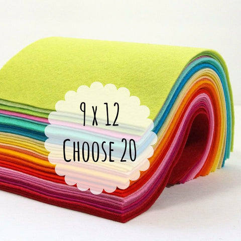 Felt Sheets, 9 x 12 inches, Wool Blend, Choose 20 - Busy Little Bird