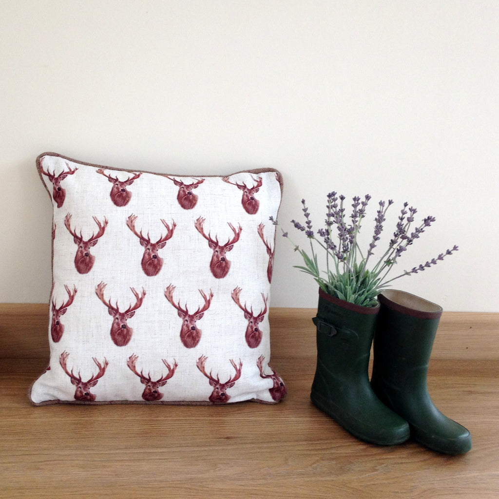 Luxury Country Tiled Stag Head Cushion...Limited Edition - Country Living Home Accessories,  Cushions - Home Accessories, Field & Pheasant  Field & Pheasant
