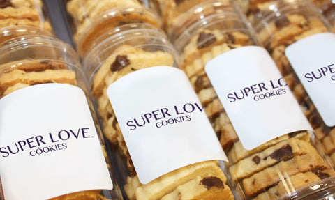 crisp chocolate chip sugar cookies in personalized gift tube