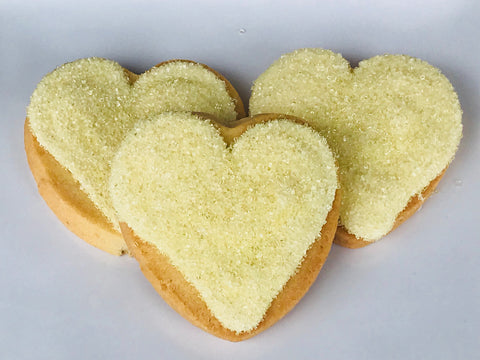 yellow heart shaped cookies wrapped and personalized gifts