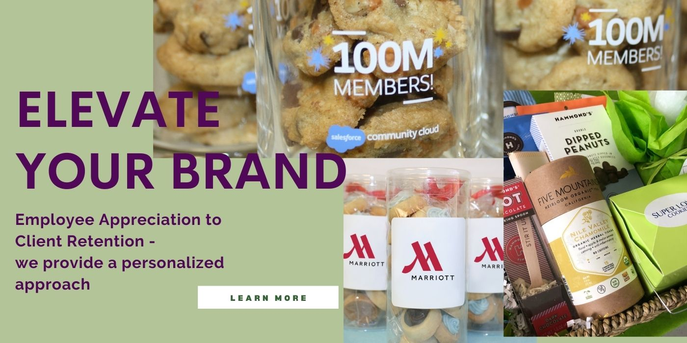branded corporate gifts featuring premium cookies. we ship US and abroad