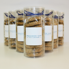 Cookie favors and gifts in clear tube with your branding or personalization. Choose chocolate chip to snickerdoodle cinnamon crisp and more.