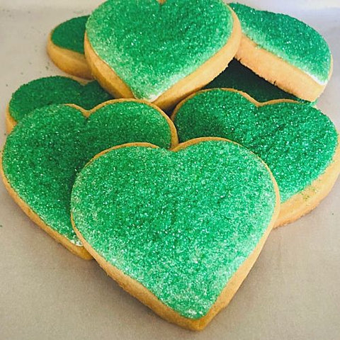 green heart shaped cookies for any occasion. Personalize cookies for weddings, corporate cookie gifts, cookie favors and more.