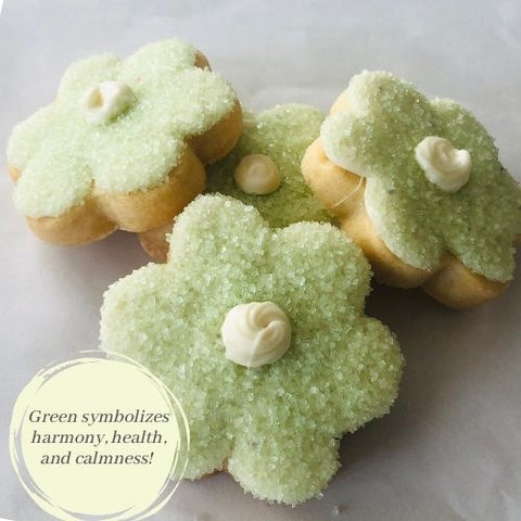 GREEN FLOWER SHAPED SUGAR COOKIE | 16 COOKIES