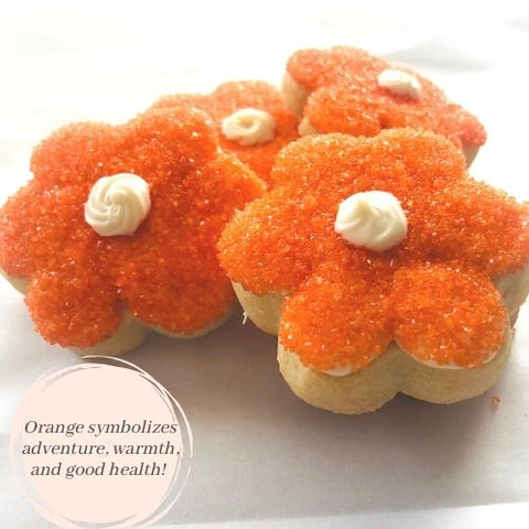 ORANGE FLOWER SHAPED SUGAR COOKIES | 16 COOKIES
