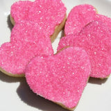 pink heart shaped cookies gift wrapped for free. ship us and international